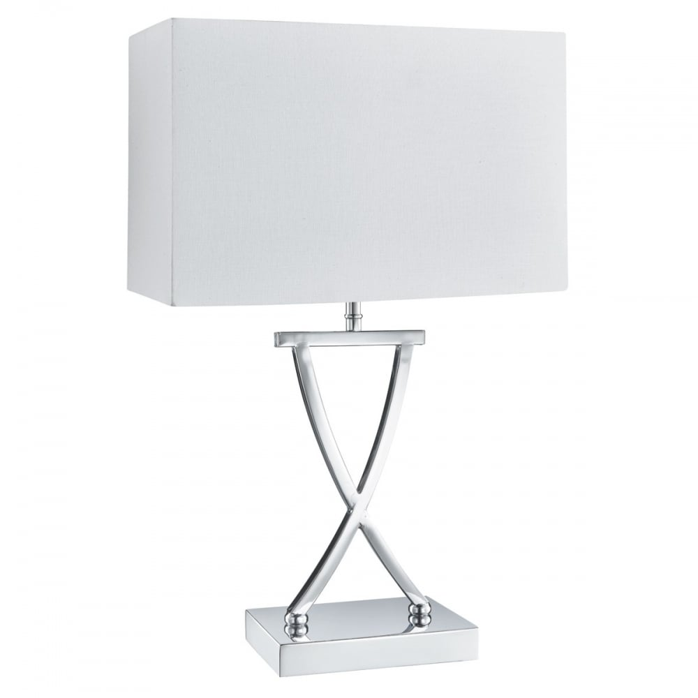 cross chrome table lamp with white rectangle shade p8462