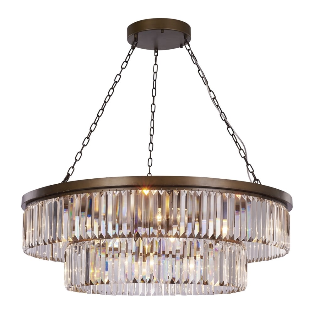 Crystal And Antique Bronze 10 Light Chandelier
