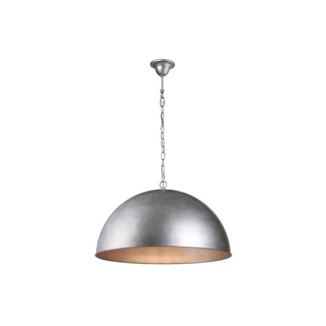CUPULA CLASSIC dome ceiling pendant in brushed silver finish (medium)