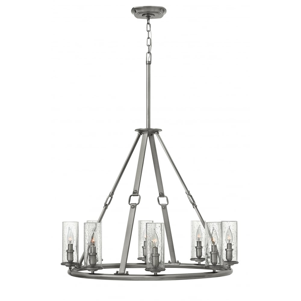 Polished antique nickel 8 light chandelier with clear seeded glass polished antique nickel 8 light chandelier with clear seeded glass shades aloadofball Gallery