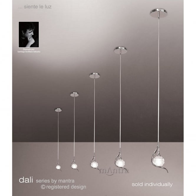 DALI small single chrome ceiling pendant on wire & Small Single Ceiling Pendant Light for over tables.