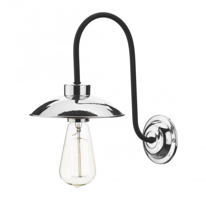 Industrial Wall Light Chrome: Retro Industrial Chrome Wall Light For Use With Vintage