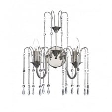 DANIELLA double wall light in polished nickel with crystal droplets