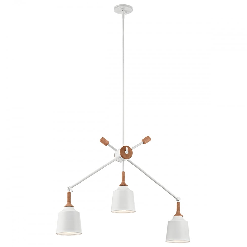 Modern Classic White 3 Light Ceiling Pendant With Wooden Accent