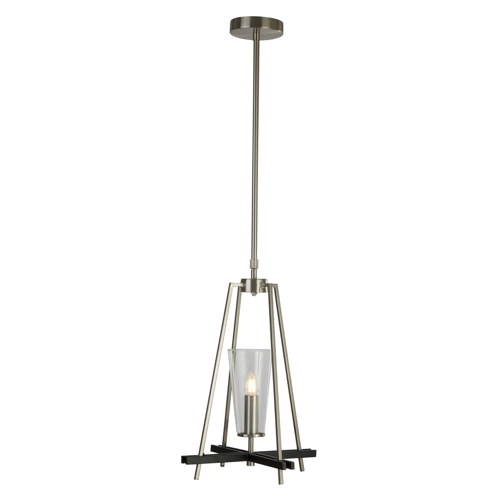 Danika Swing Single Pendant Satin Silver Black Detail Lighting Company