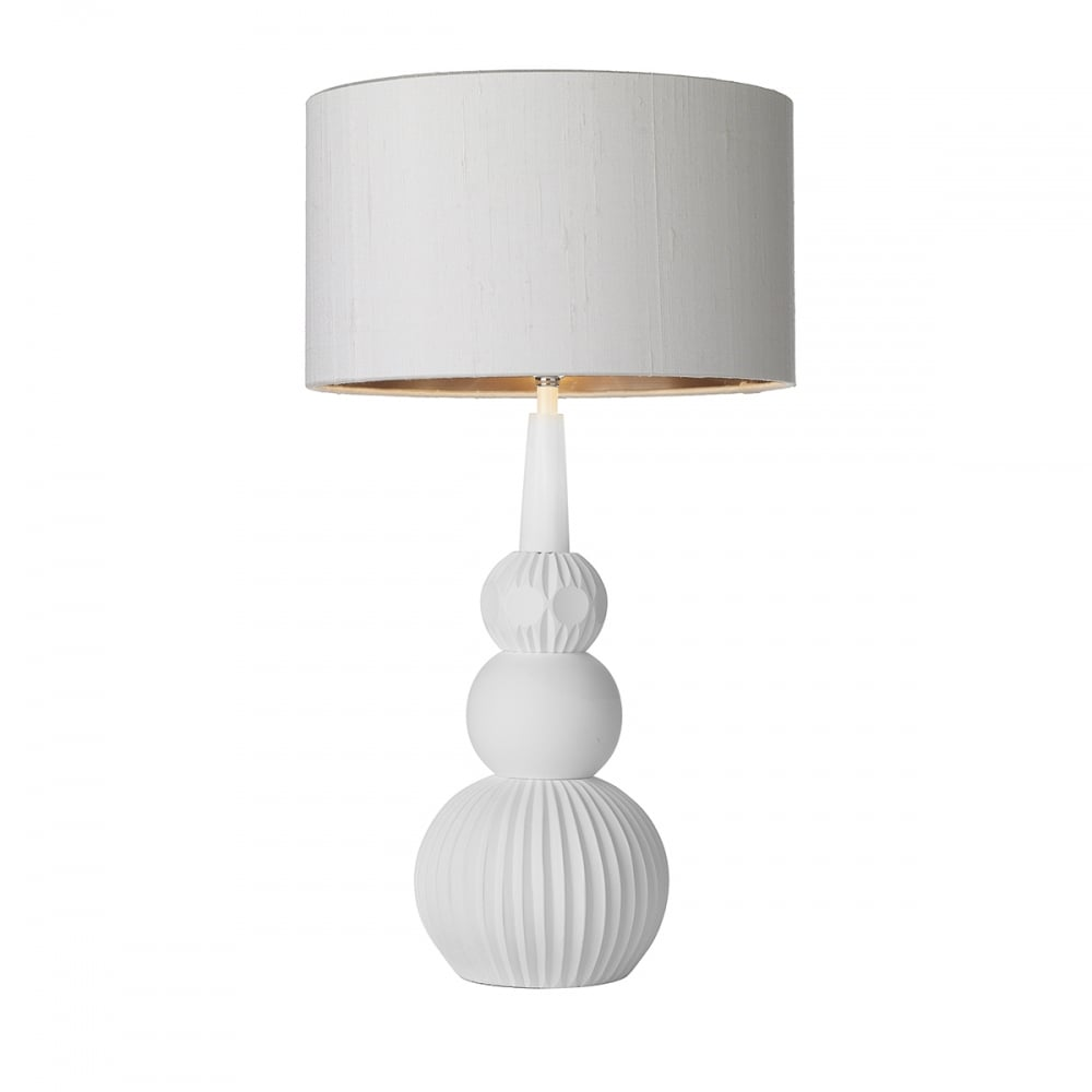 British made white table lamp w fan fold effect base and white shade white table lamp with white and bronze shade mozeypictures Gallery