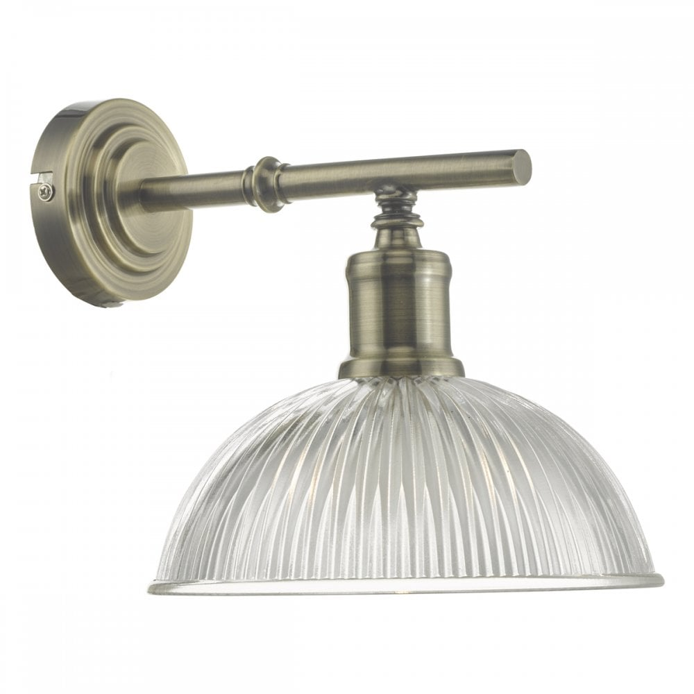 wholesale dealer 4980f 0b6ef DARA industrial style antique brass wall light with prismatic glass shade