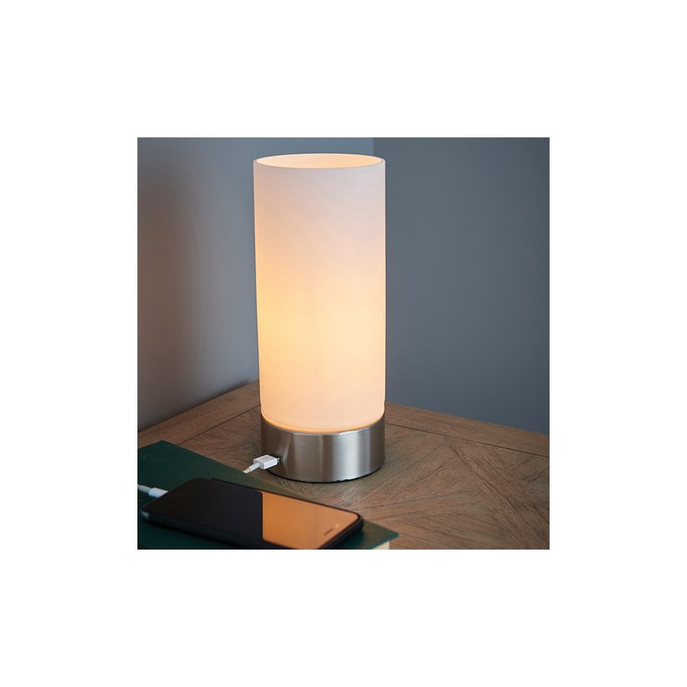 Dara Usb Touch Lamp In Brushed Nickel With Opal Glass Shade