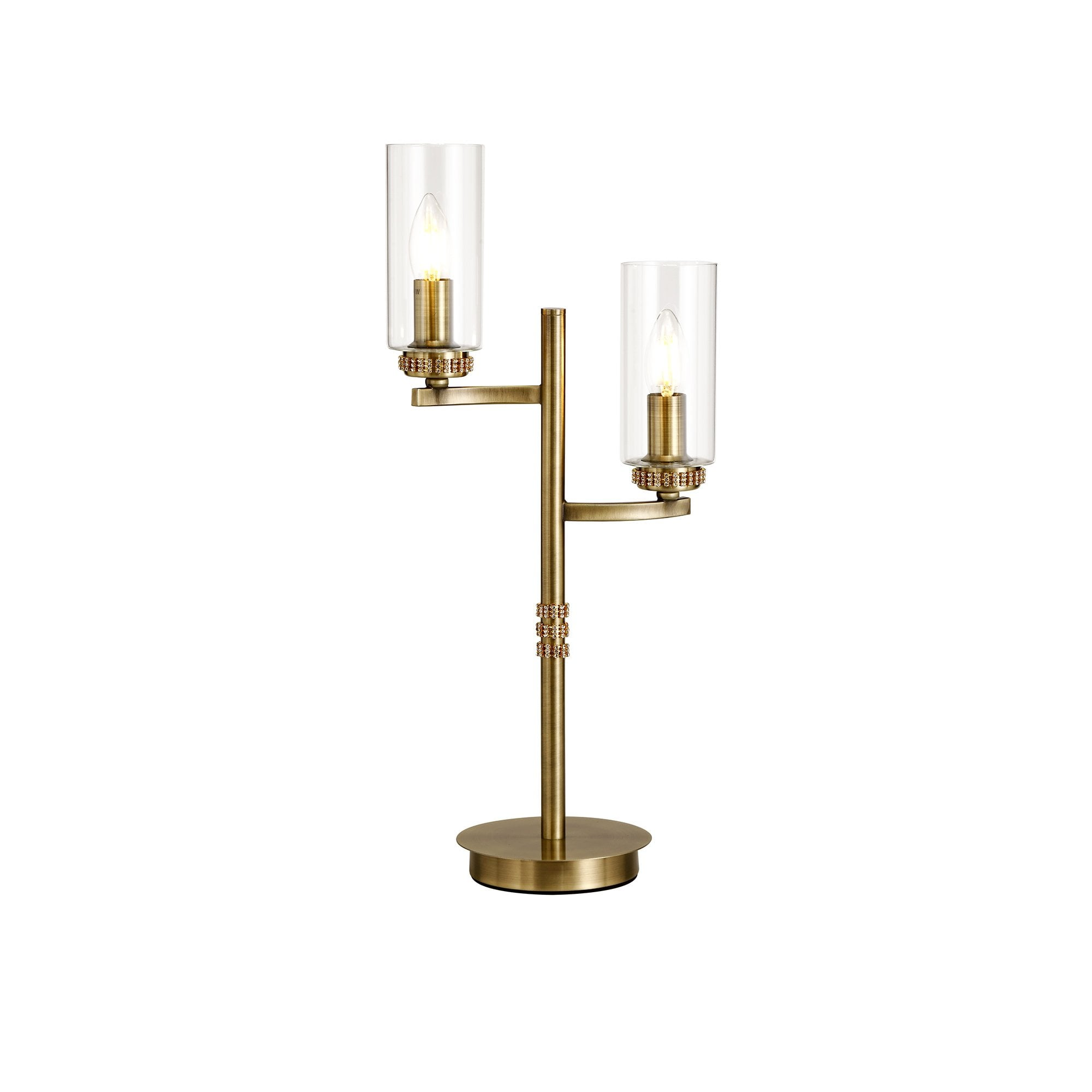 Picture of: Double Table Lamp Brass Clear Glass Shades Lighting Company Uk