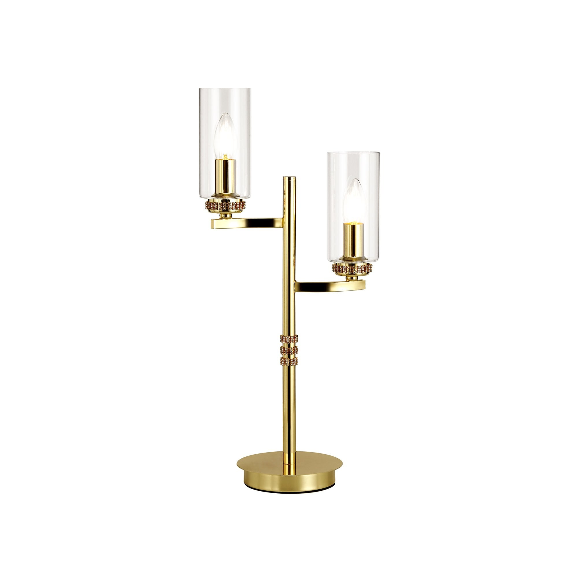 Double Table Lamp Gold Clear Cylinder Glass Shades Lighting Company Uk