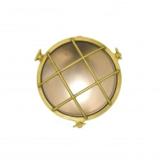 7028 round brass bulkhead with frosted glass and front guard