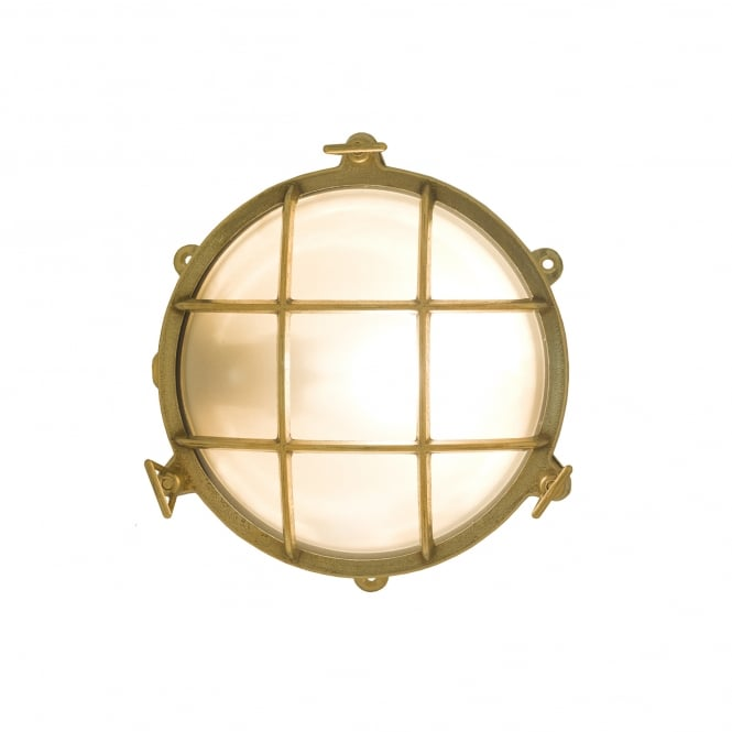 7029 brass rounded bulkhead in polished brass with frosted glass