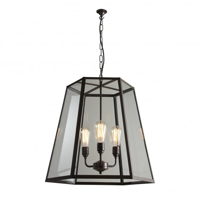 Davey Lighting HEX extra large weathered brass ceiling pendant with clear glass panels