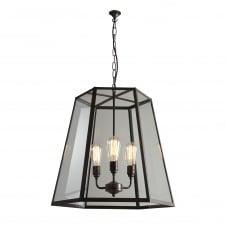 HEX extra large weathered brass ceiling pendant with clear glass panels