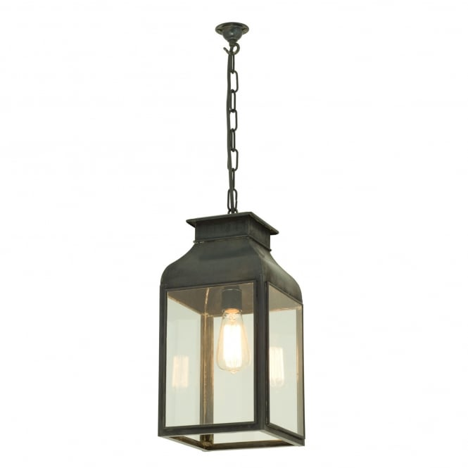 PENDANT lantern in weathered brass with clear glass panels