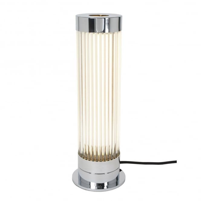PILLAR chrome plated table lamp with glass rod shade