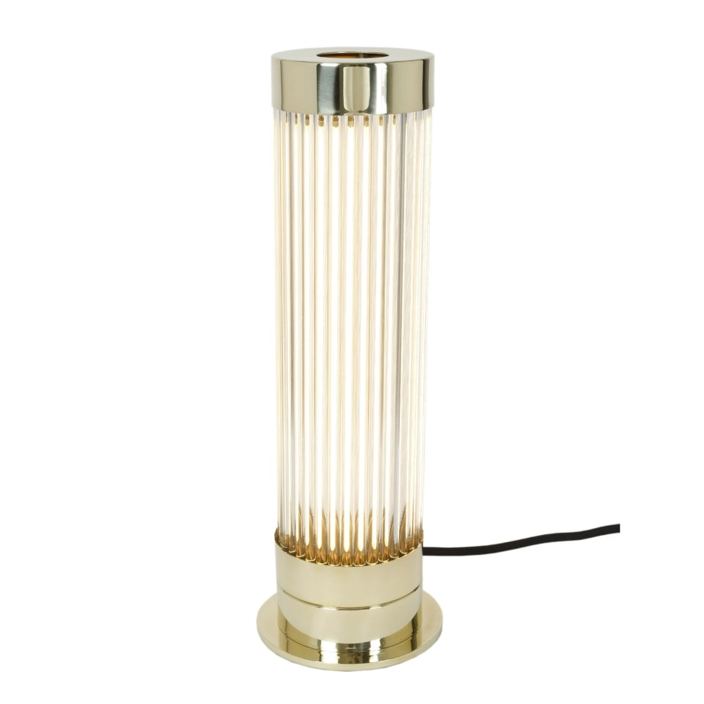 Polished brass table lamp with glass rod cylinder shade pillar polished brass table lamp with glass rod shade mozeypictures Images