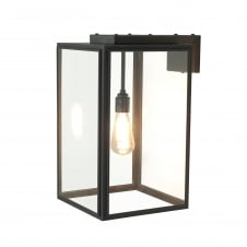 PORTICO weathered brass wall lantern with clear glass panels
