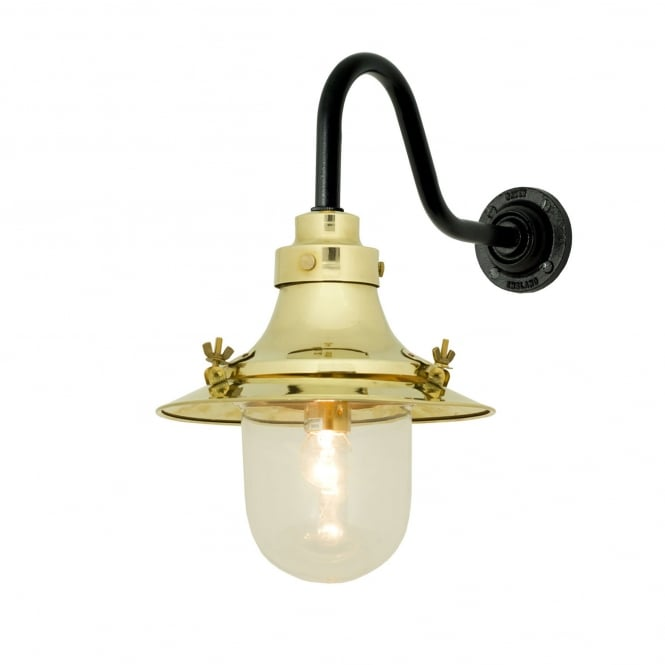 SHIP'S small decklight wall light in polished brass with clear glass