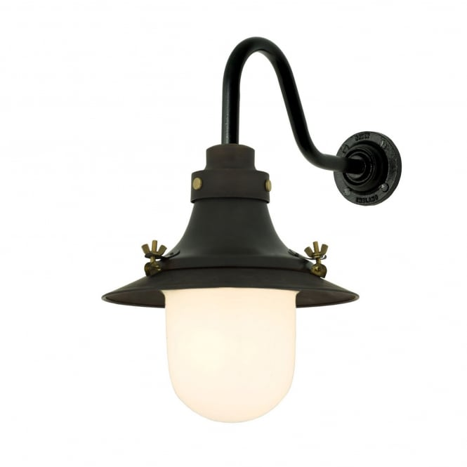 Davey Lighting SHIP'S small decklight wall light in weathered copper with opal glass