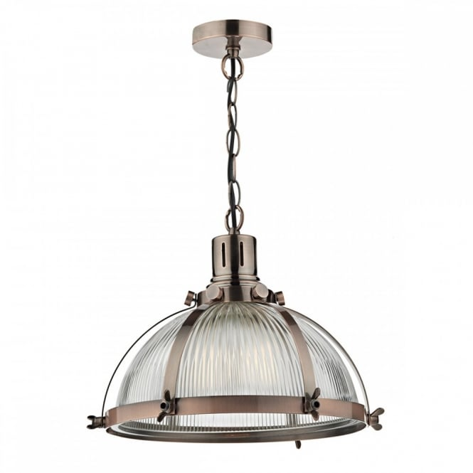 Vintage industrial style ceiling pendant in antique copper with ribbed glass shade