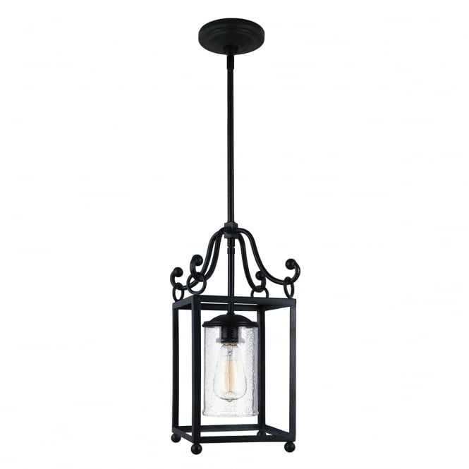 DECLARATION mini open frame lantern ceiling pendant in antique iron