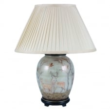 DEER On Dist Gold Medium Oval Table Lamp with Silk Knife Pleat Balloon Lined Almond Shade 40cm