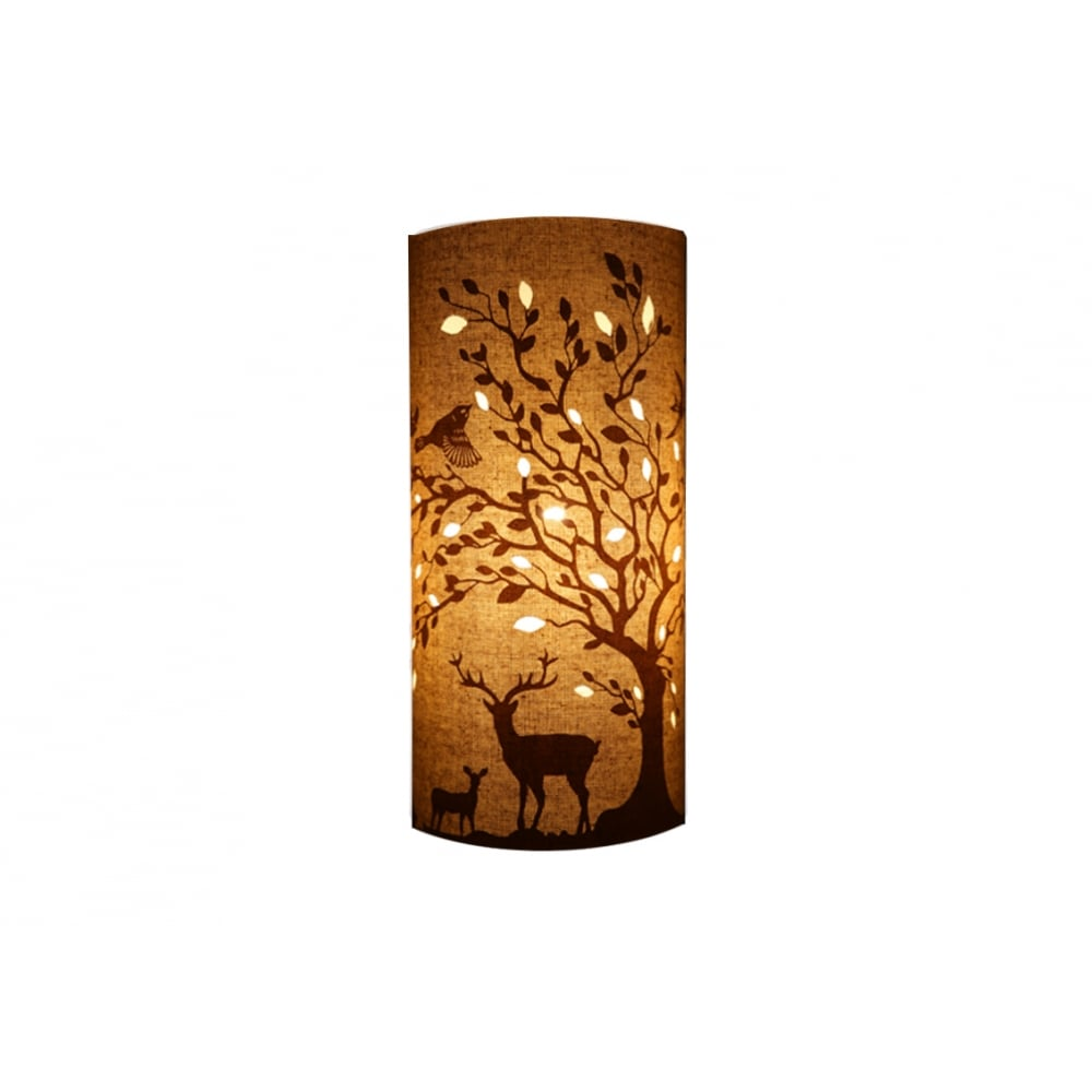 DEERS and BIRDS decorative chic fabric table lamp