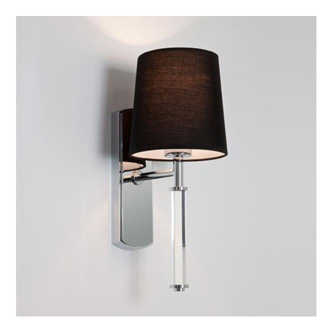 DELPHI single chrome & clear modern wall light