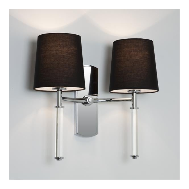 Modern chrome clear twin wall light with shades dimmable delphi twin chrome clear modern wall light aloadofball Gallery