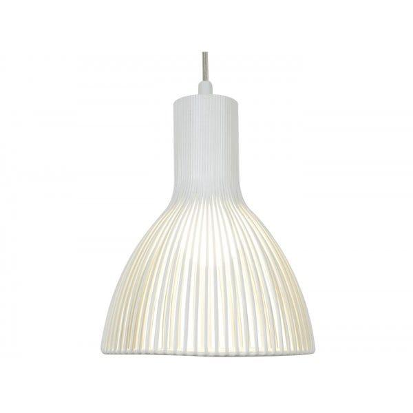 Single White Metal Ceiling Pendant Light Doble Insulated