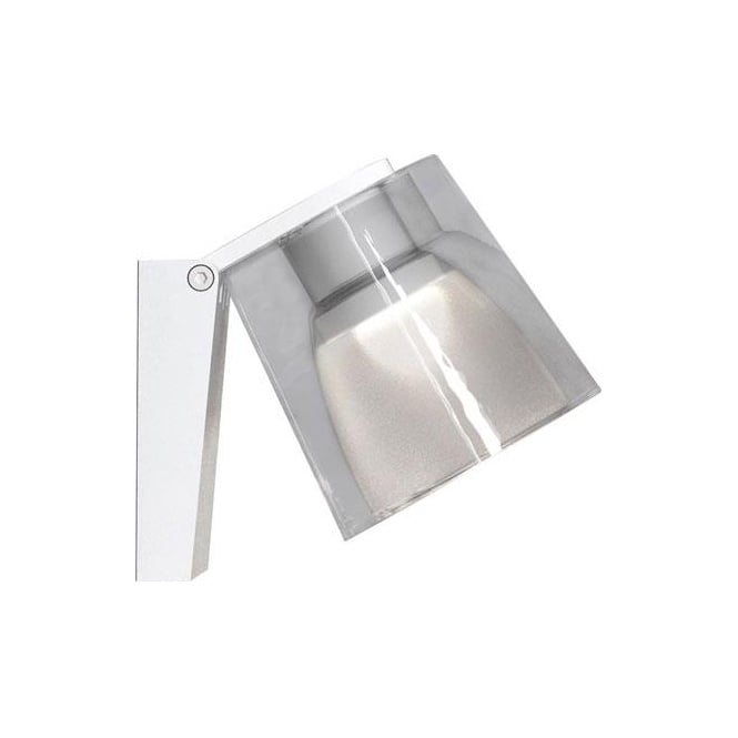 IP S12 LED bathroom wall light in white with glass shade