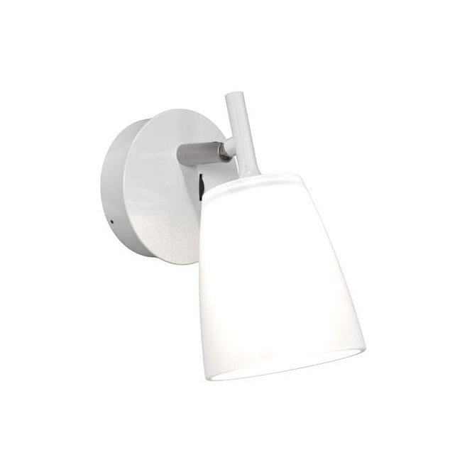Design For The People LUNA LED wall light in white with sanded glass shade