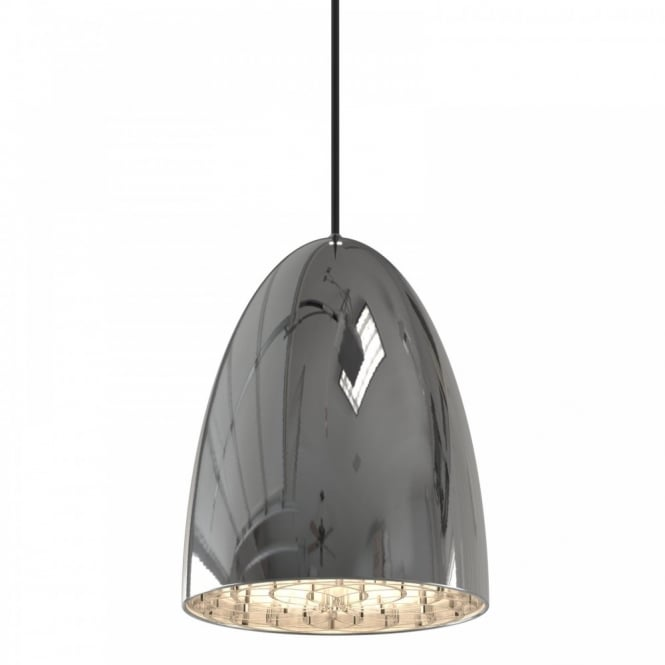 Contemporary Ceiling Pendant Light In Chrome, Double Insulated