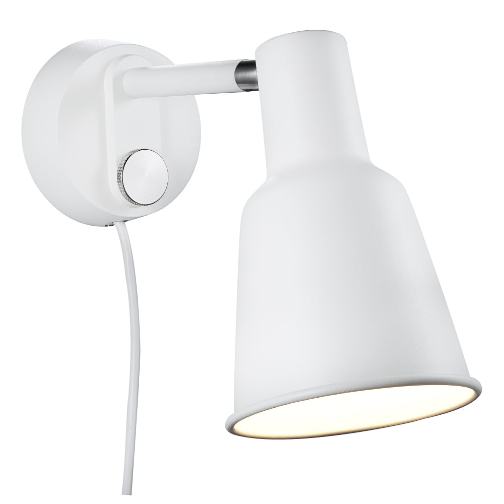 Switched Wall Lights For Bedroom : Contemporary White Wall Light - Plug in Powered and Switched