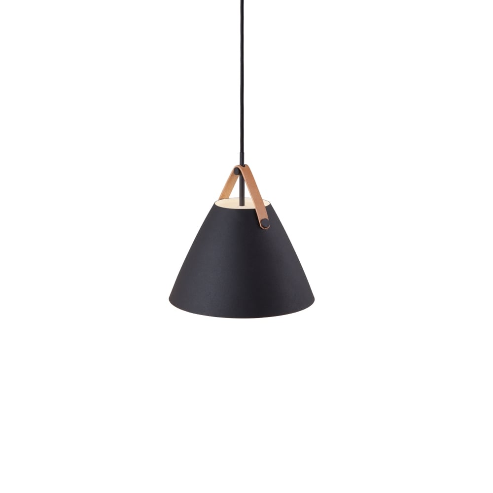 black ceiling pendant with leather strap detail. pendant lights  lighting to grace your ceiling  the lighting company