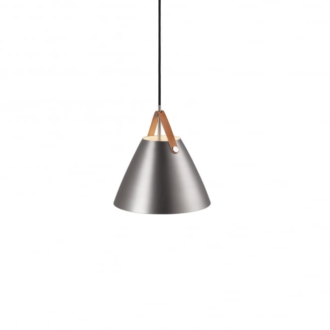 STRAP 27 contemporary brushed steel pendant with leather effect strap