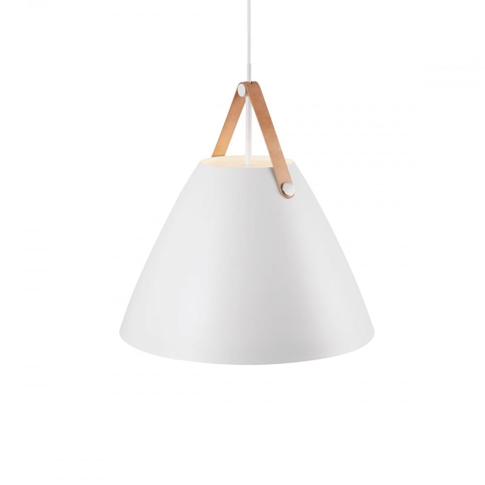 contemporary white ceiling pendant with leather effect strap - white pendant light with leather effect strap