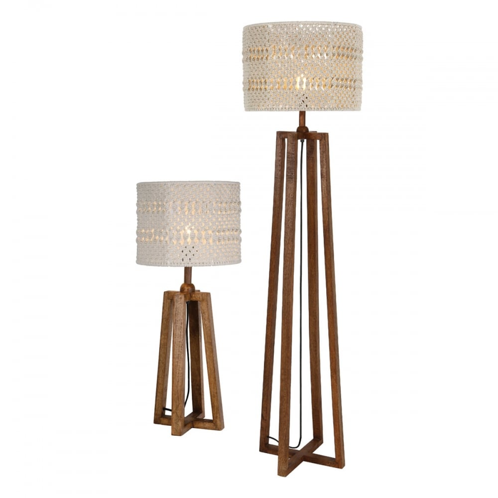 Dark washed wood table and floor lamp with shades