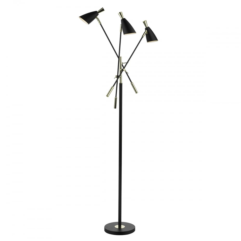 Contemporary matte black and gold 3 light floor lamp matte black and gold 3 light floor lamp aloadofball Choice Image