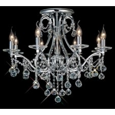 BIANCO 8 light chrome & Asfour crystal chandelier for low ceilings