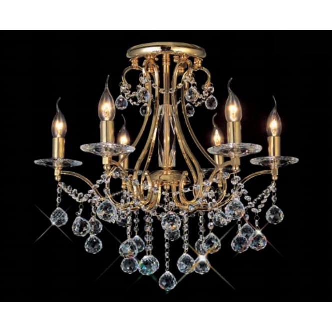 Diyas BIANCO gold plated & Asfour crystal chandelier for low ceilings