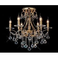 BIANCO gold plated & Asfour crystal chandelier for low ceilings