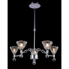NEPTUNE modern chrome ceiling light with 5 cut glass shades