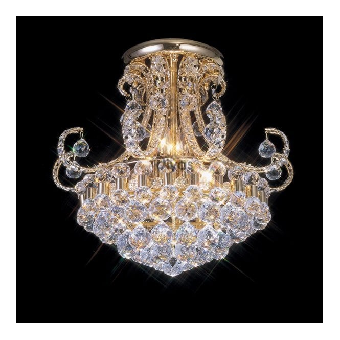 Diyas PEARL gold plated Asfour crystal chandelier for low ceilings