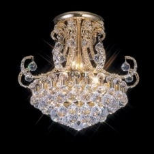 PEARL gold plated Asfour crystal chandelier for low ceilings