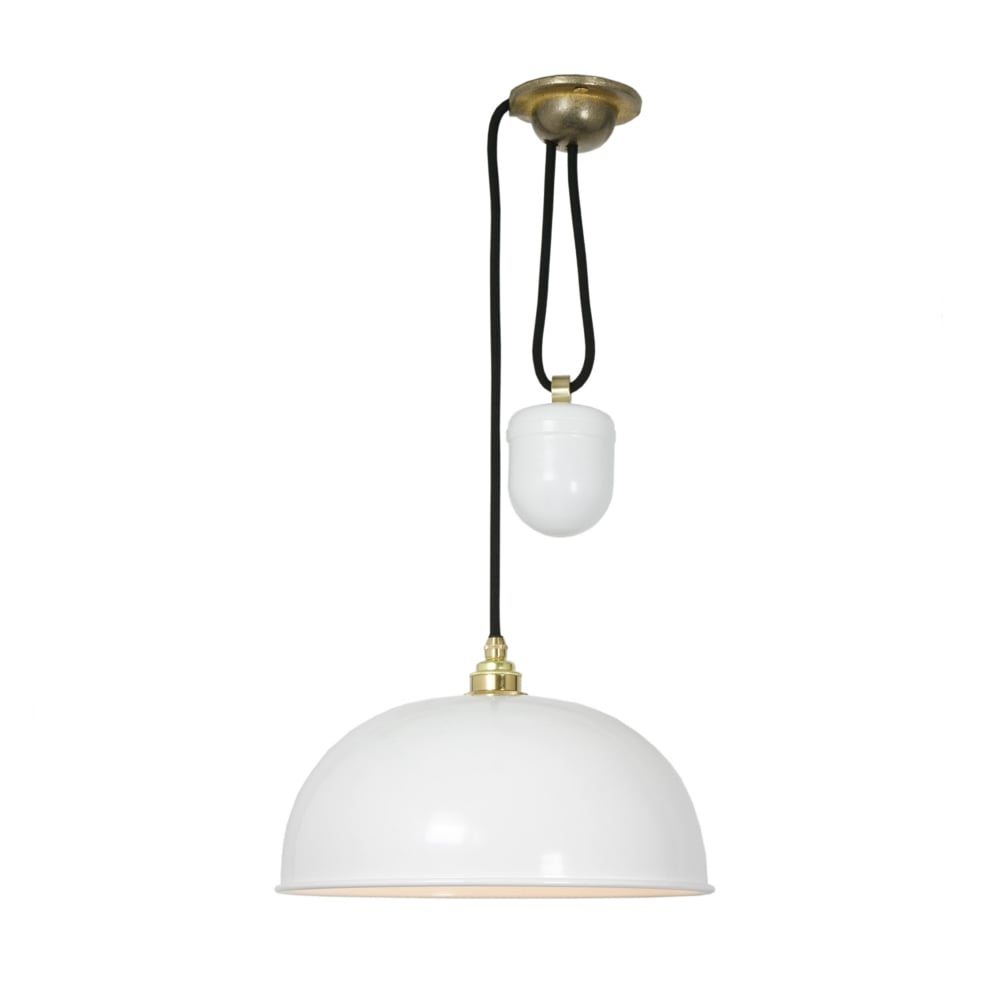 Dome rise and fall ceiling pendant in a white finish