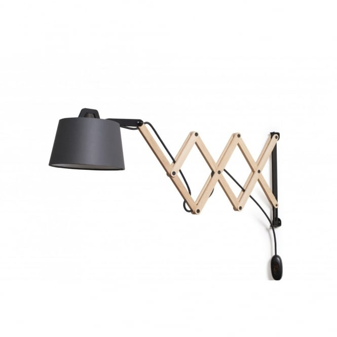 Contemporary Adjustable Scissor Arm Wall Light in Wood & Graphite