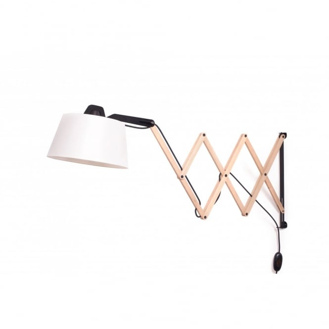 Domus EDWARD adjustable scissor arm extendable wall light (ivory)