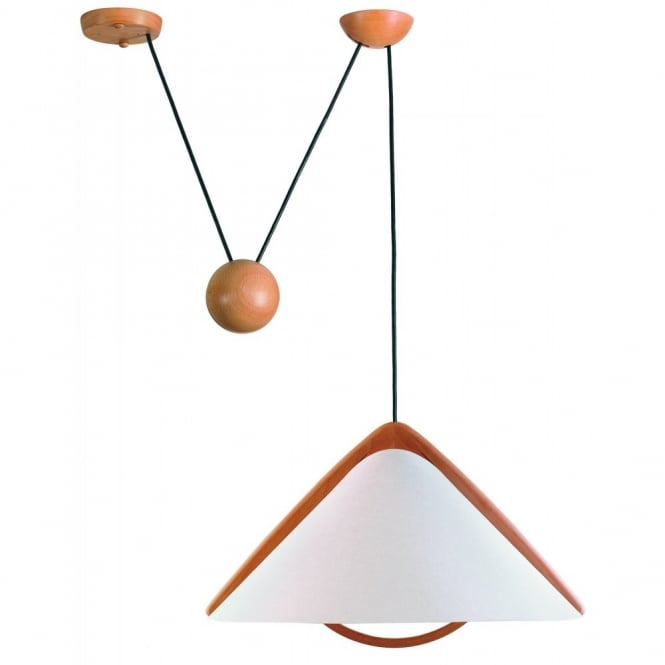 Domus PILA contemporary rise and fall ceiling pendant with opal shade & wooden detail